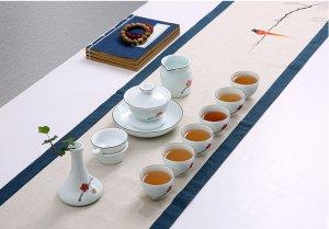 高档手绘青瓷荷花 德化手工陶瓷功夫茶具礼盒