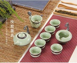 青瓷功夫茶具套装 整套礼品陶瓷 翡翠绿茶具茶碗 高档茶具