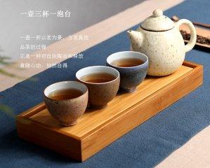 粗陶功夫茶壶户外便携竹盒旅行茶具套装 便捷高档礼品LOGO定制